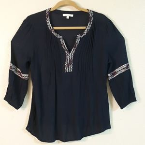 ANTHROPOLOGIE / SKIES ARE BLUE blouse embroidered